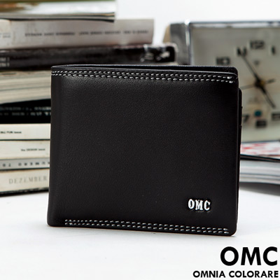 OMC - 韓國柔軟羊皮款真皮6卡2照左右翻短夾