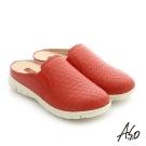 A.S.O 3D超動能 真皮鬆緊帶奈米健走張菲鞋 正紅色