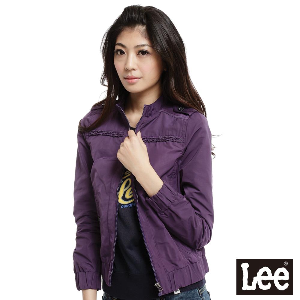 【Lee】回歸起源 前拉鍊防風薄外套-女款(紫)