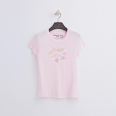 Hang Ten - 女裝 - 有機棉 花漾愛心T恤-粉紅色