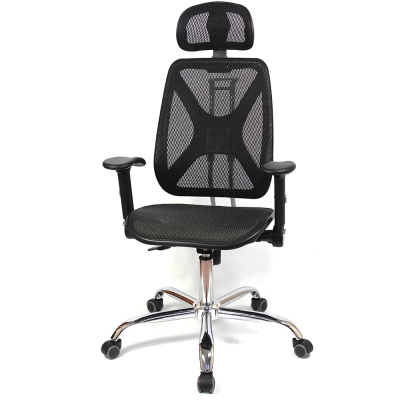 aaronation - 機能椅背辦公電腦網椅(DW-105H升降扶手枕鐵腳PU)