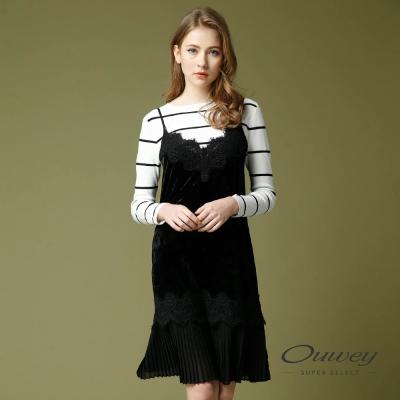 OUWEY歐薇 優雅剪接蕾絲細帶洋裝(黑)