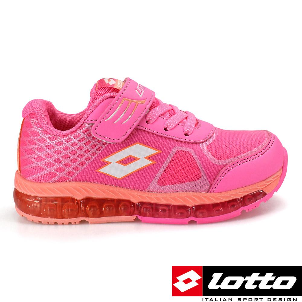 LOTTO 義大利 童G MAX避震彈力膠跑鞋(二代)-橘/粉紅