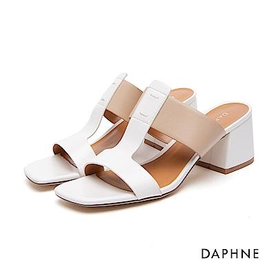 達芙妮DAPHNE 涼鞋-簡約寬帶撞色粗高跟涼鞋-白