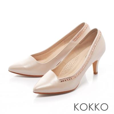 KOKKO-經典尖頭奢華鑽飾高跟鞋-光澤膚