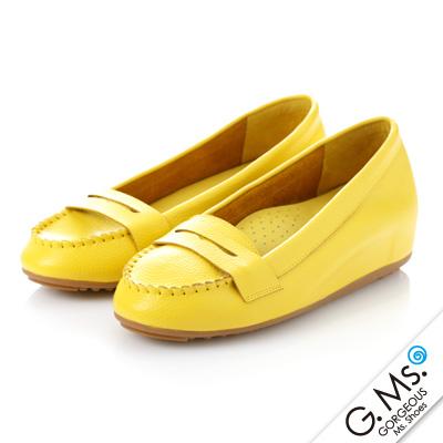 【G.Ms.】Q彈新主張‧簡約莫卡辛真皮內增高豆豆鞋‧萊姆黃