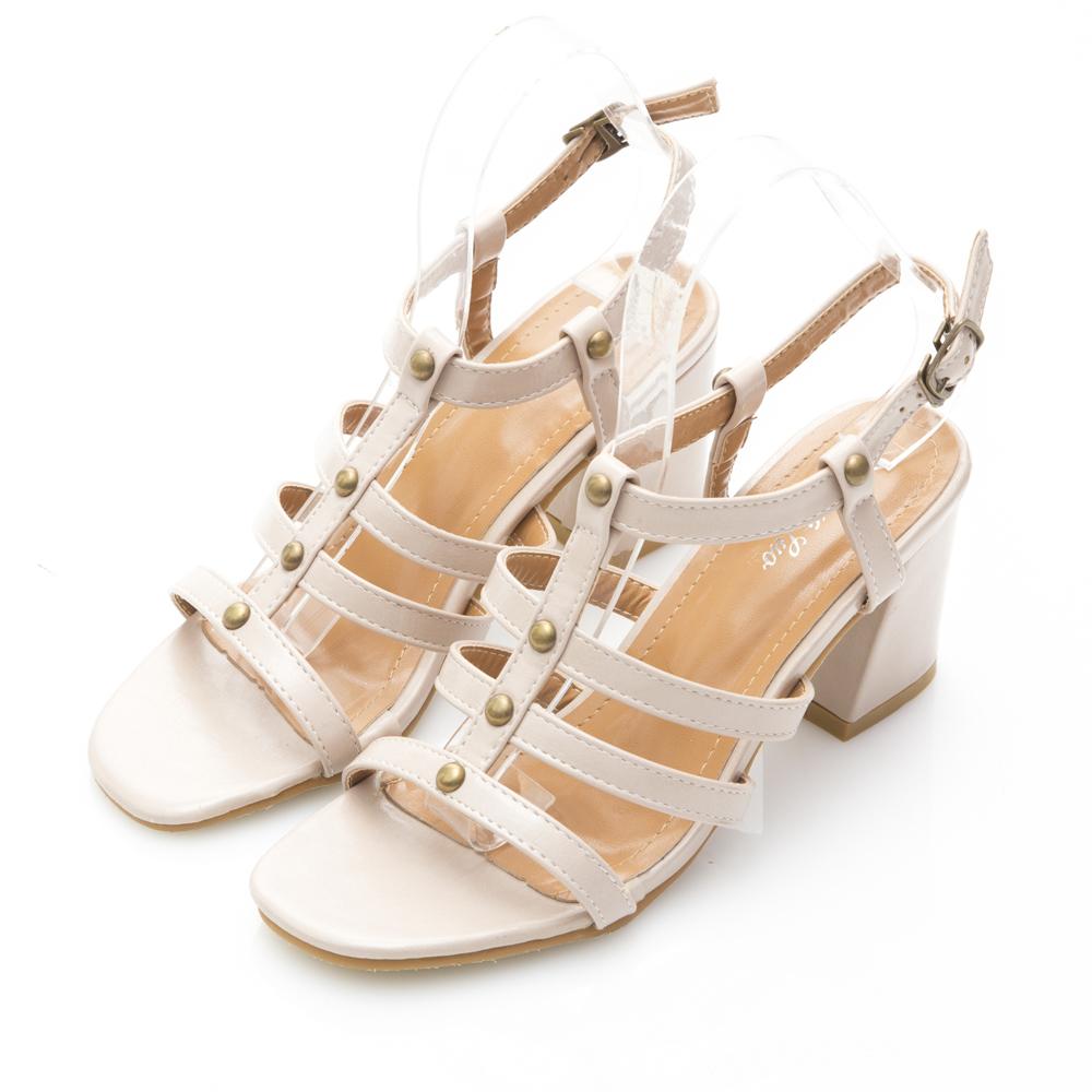 JMS-絕美羅馬線條粗跟涼鞋-杏色