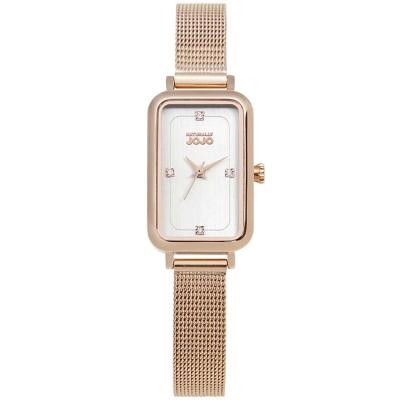NATURALLY JOJO 魅力魔方米蘭不鏽鋼鍊錶-玫瑰金/白面-20*37mm
