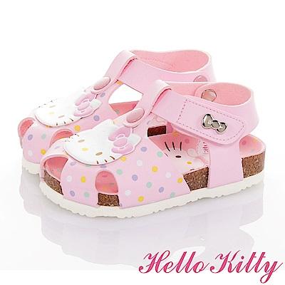 HelloKitty 輕量減壓吸震腳床型涼鞋童鞋-粉