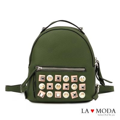 La Moda 摩登時尚特色鉚釘設計荔枝紋後背小包(綠)