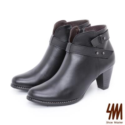 SM-手工全真皮-V型素面繞踝粗高跟短靴-黑色