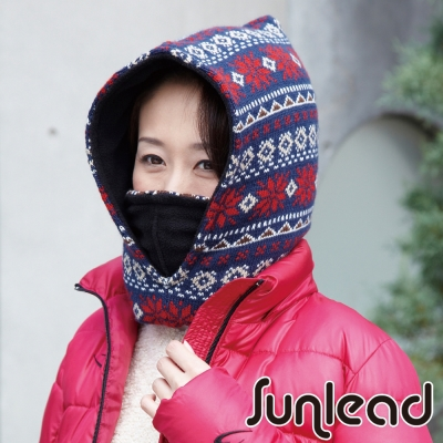 Sunlead-保暖防風多機能防寒頭套面罩脖圍-藍