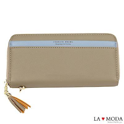 La Moda 柔軟皮質大容量流蘇綴飾多卡位拉鍊長夾手機包(灰)