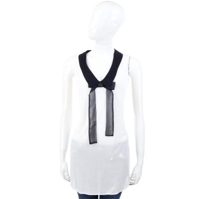 CLASS roberto cavalli 白色西裝領雪紡上衣