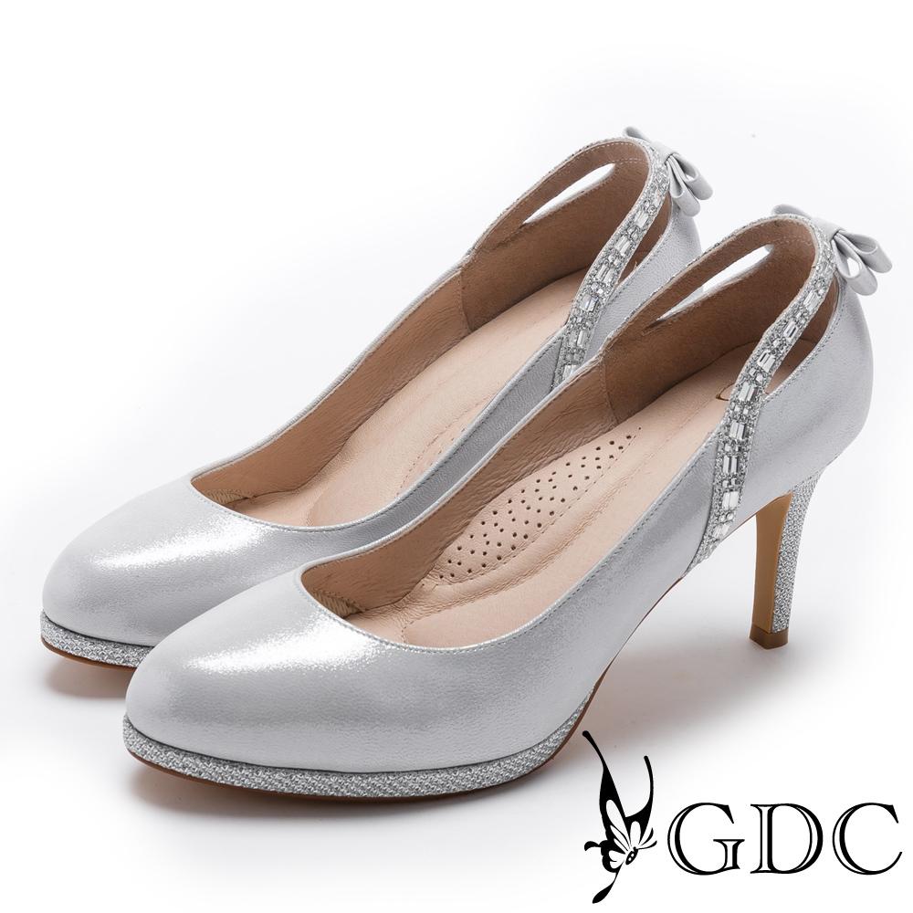 GDC-後水鑽拉帶典雅氣質跟鞋(婚鞋)-銀色