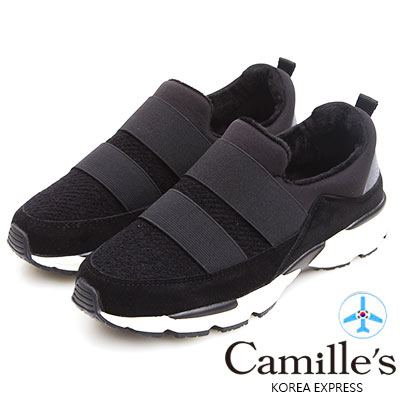 Camille's 韓國空運-正韓製-毛毛鬆緊繃帶運動休閒鞋-黑色