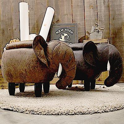 IDEA-超萌大象實木短腿收納椅凳