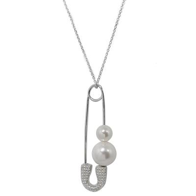 apm MONACO法國精品珠寶 閃耀銀色珍珠別針鑲鋯造型可調整長項鍊