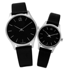 CK Classic 完美簡約時尚皮革對錶-黑色/38mm.32mm.24mm
