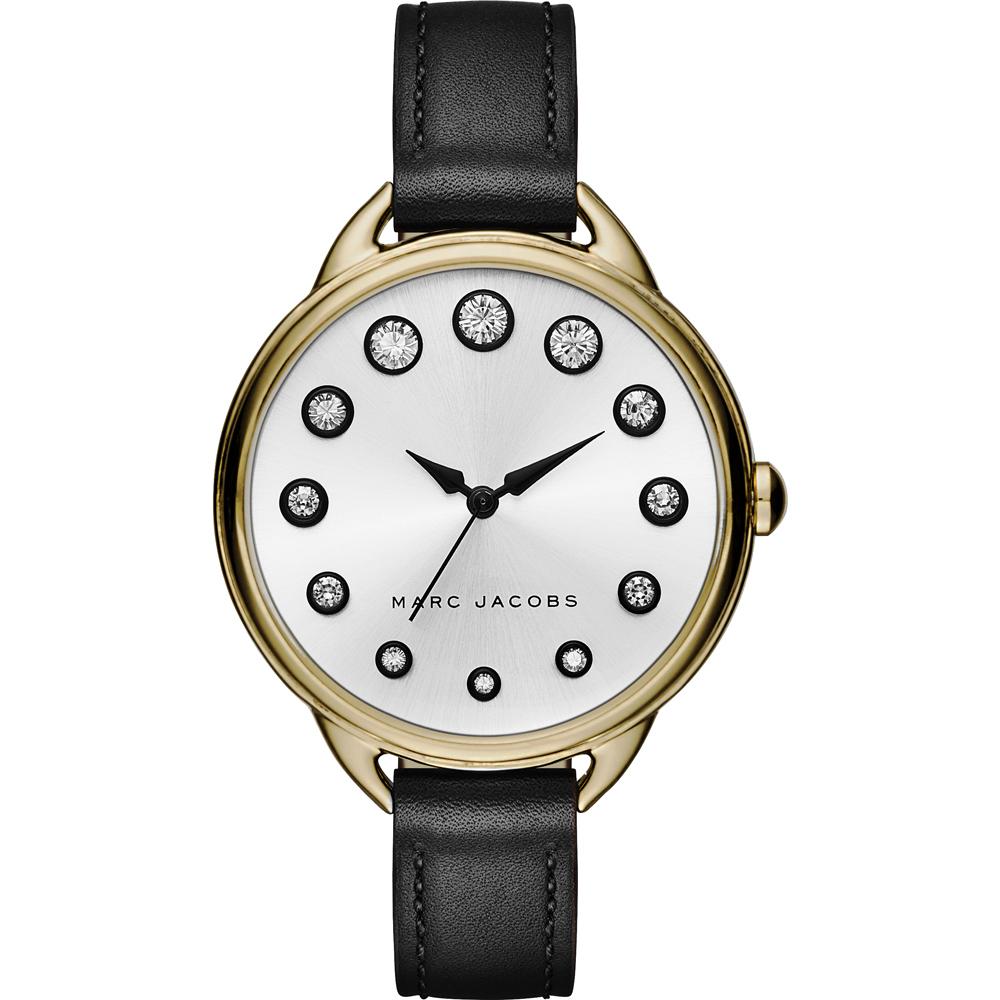 Marc Jacobs Betty 摩登晶鑽腕錶-淡金框x黑/35mm