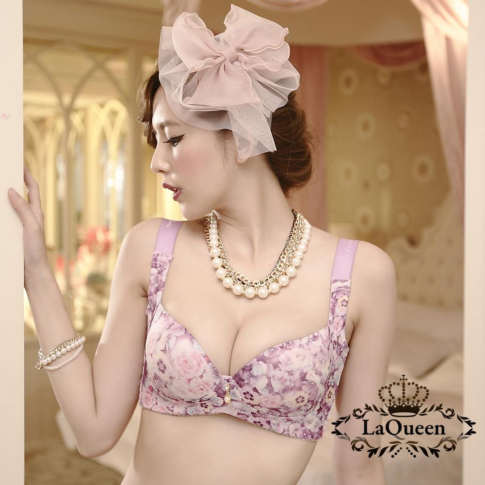 內衣 渲染花樣蠶絲無鋼圈成套內衣-紫 La Queen