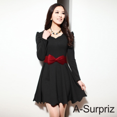 A-Surpriz 雙層緞面蝴蝶結彈性腰封(紅)