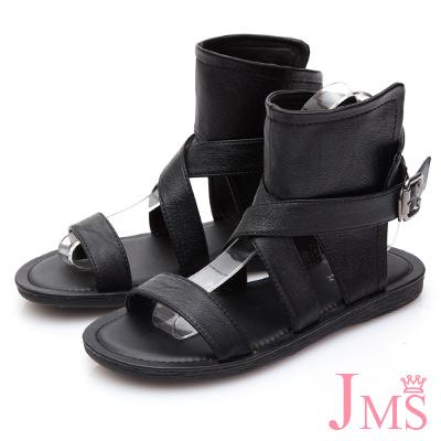 JMS-率性交叉環釦包踝平底羅馬涼鞋-黑色