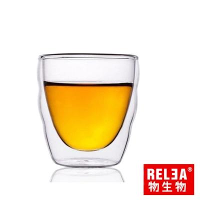 香港RELEA物生物 雙層玻璃品茗杯30ml(波浪造型)