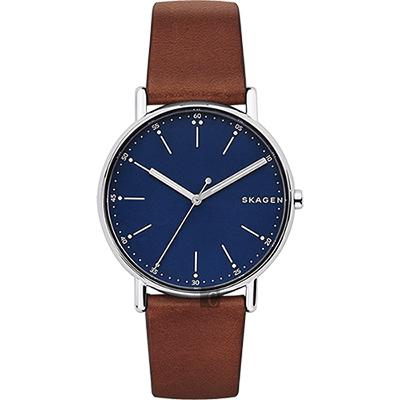 Skagen Signature 北歐時尚腕錶-藍x咖啡/40mm