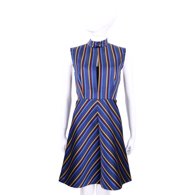 Max Mara-SPORTMAX  藍色條紋無袖洋裝(附綁帶)