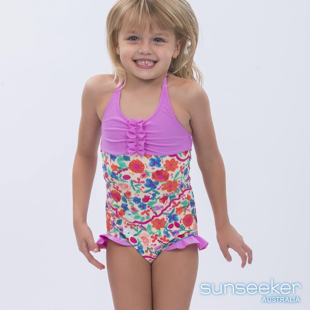 澳洲Sunseeker泳裝抗UV防曬連身泳衣-小女童粉系小花
