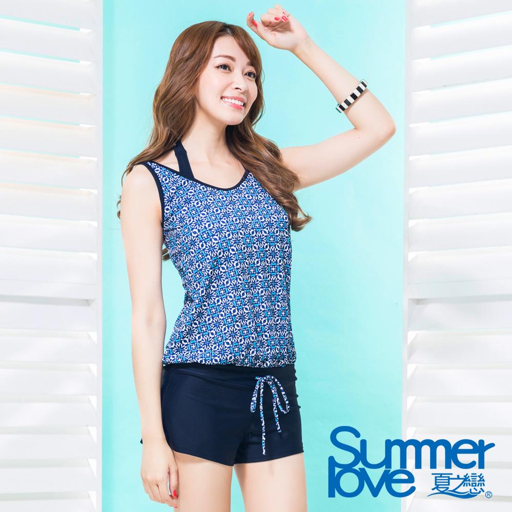 夏之戀SUMMERLOVE 比基尼泳裝 外搭連身褲 比基尼三件式 藍色圖騰