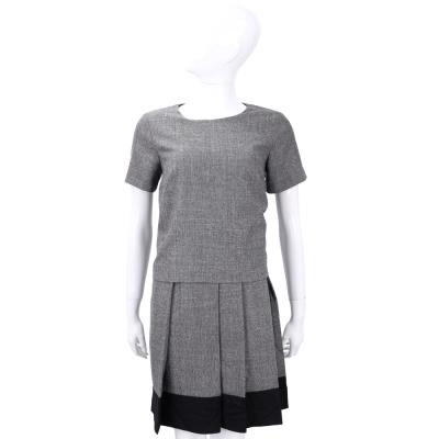 Max Mara-WEEKEND 灰黑色拼接百褶裙短袖洋裝