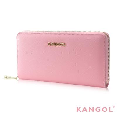 KANGOL 英式優雅經典風華 拉鍊長皮夾 十字紋頭層皮設計感-淺粉