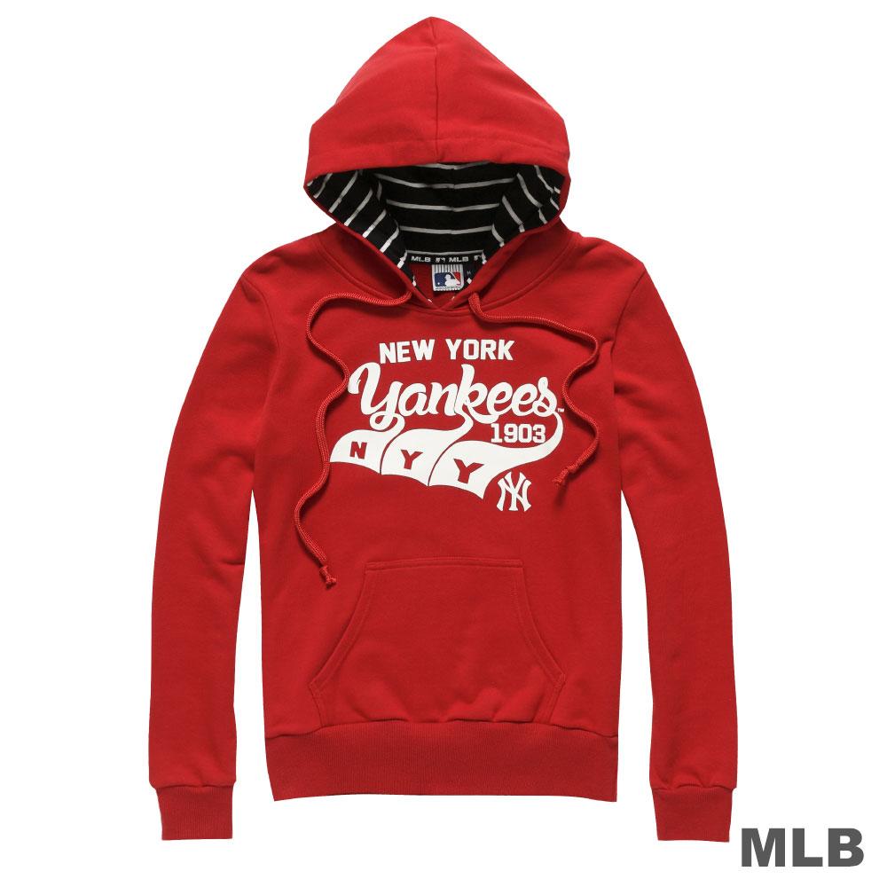MLB-紐約洋基隊Q版草寫連帽長袖厚T恤-紅 (女)