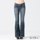 Earl Jean 寬褲頭蓋袋中腰合身喇叭褲-深藍-女