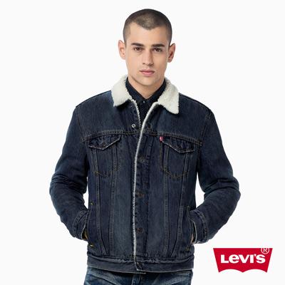 男款Type-3經典牛仔夾克外套-鋪棉Sherpa-深蔚藍-海報款-Levis