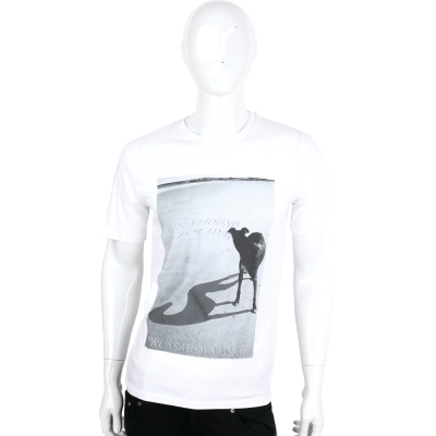 TRUSSARDI-JEANS 白色狗倒影圖印棉質短袖T恤