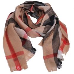 BURBERRY 經典格紋美麗諾羊毛混喀什米爾圍巾(駝色)