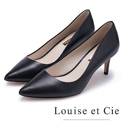 Louise et Cie 真皮高質感尖頭中跟鞋-黑色