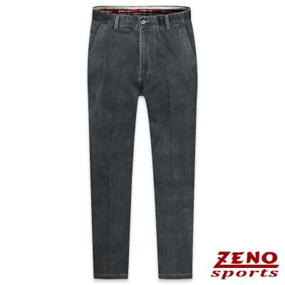 ZENO 簡約厚棉直紋無摺休閒褲‧黑灰30-42