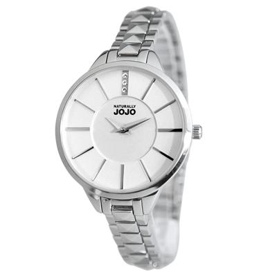 NATURALLY JOJO 璀璨時光晶鑽不鏽鋼腕錶-白/33mm