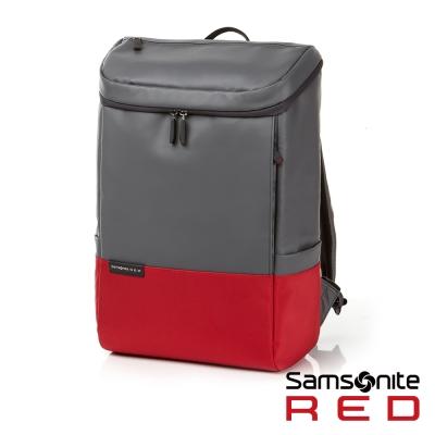 Samsonite RED PECKHAM長型上開式中性筆電後背包-14吋(灰/紅)