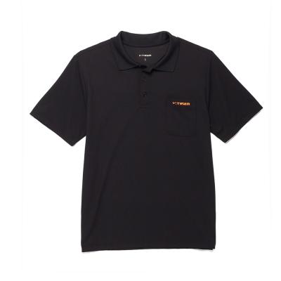 V.TEAM-簡約設計吸排口袋POLO衫-黑