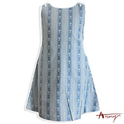 Annys海洋系條紋可愛鈕扣肩帶洋裝*7308藍