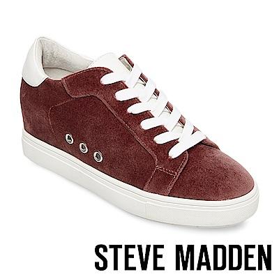STEVE MADDEN-STEAL 天鵝絨內增高綁帶休閒鞋-咖啡