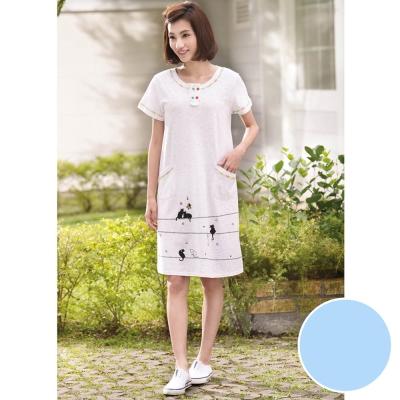 華歌爾睡衣 Pretty Amy 印花 M-L 短袖裙裝家居服(甜美藍)