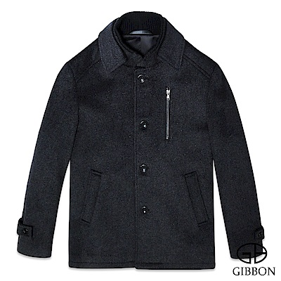 GIBBON 典雅排釦毛料大衣外套‧斜紋灰M-3L