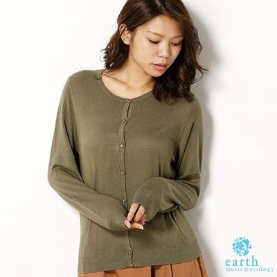 earth music 定番基本款多色開襟上衣/罩衫/小外套-卡其色
