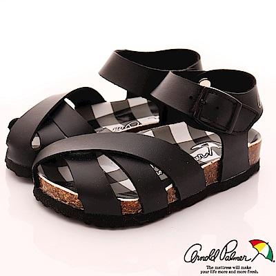 雨傘牌 休閒皮質涼鞋款 EI83804黑 (中小童段)